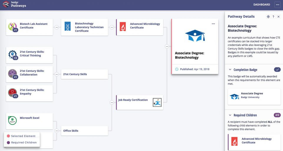 A screenshot of the Pathways application showing interconnected nodes of badges.