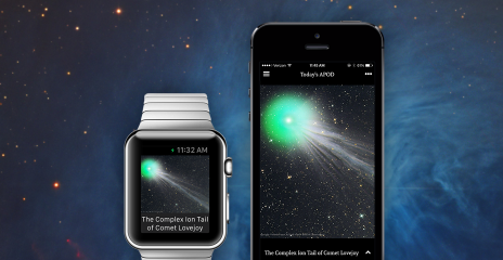 APOD app on an Apple Watch and iPhone.
