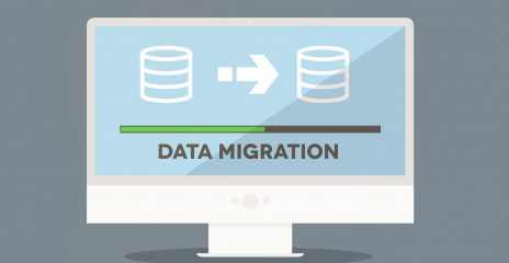 A screen displaying the words Data Migration with a loading bar in progress.