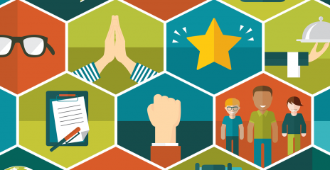 A series of hexagon illustrations fitting together showing various people and objects.