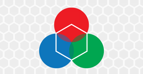 An illustration of three overlapping circles overlaid with a hexagon.
