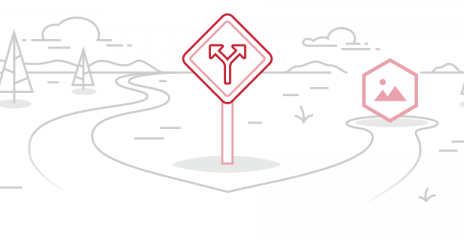 A illustration of a walking path that goes in two directions with a sign showing two arrows, one pointing left and one pointing right.