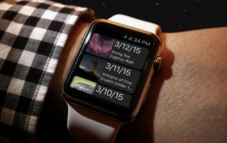 The APOD app displayed on an Apple Watch.