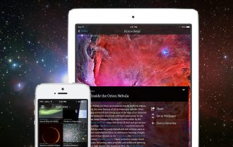 The APOD app on an iPhone and iPad.