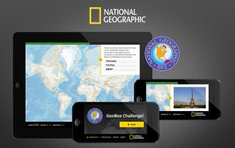 A mockup showing the National Geographic GeoBee app on two phones and a tablet.